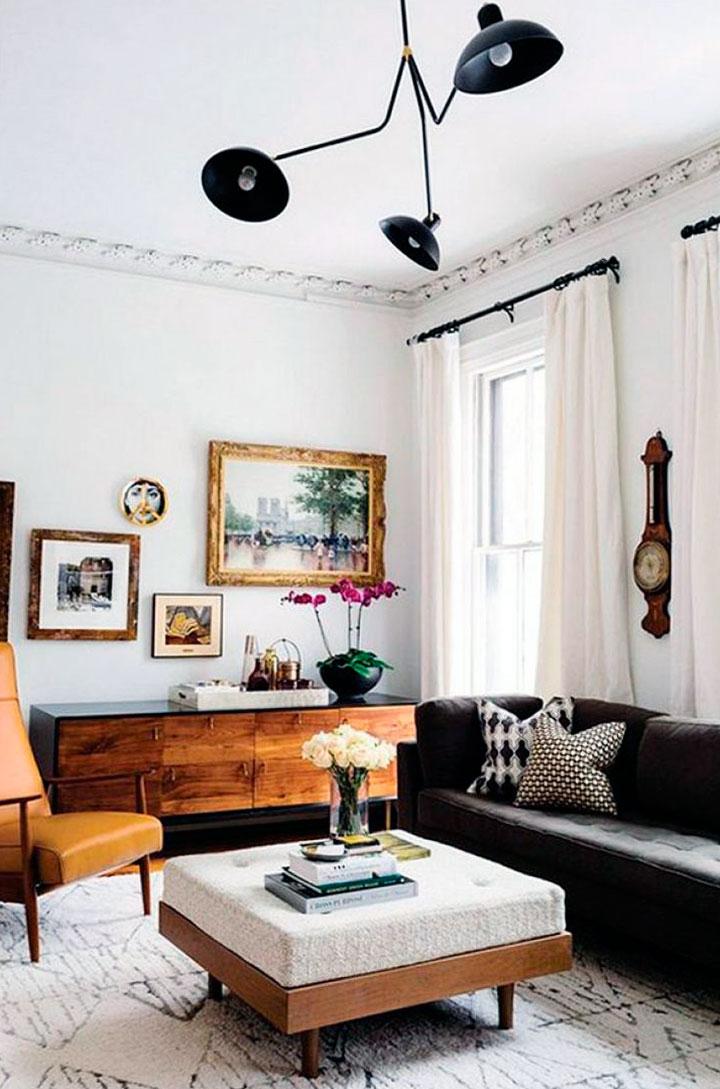 Ideas de decoración de salones eclécticos diminutos