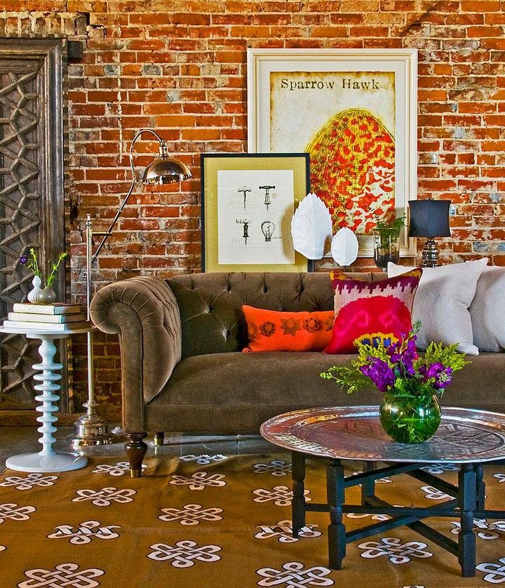decoración de salones estilo ecléctico retro