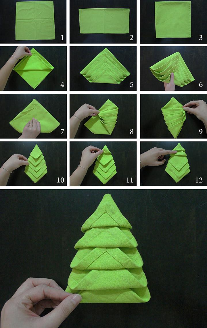 Doblar servilletas para Navidad con forma de árbol