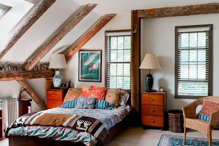 Estilos decorativos en un dormitorio ecléctico rústico