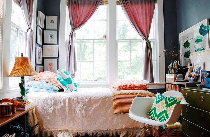 Fusión de texturas en un dormitorio tipo ecléctico
