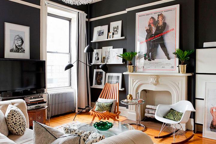 Ideas para decorar un salón pequeño estilo ecléctico vintage