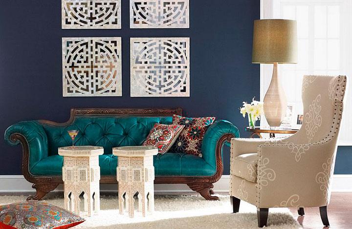 sala de estar ecléctica fusión de estilos victorianos