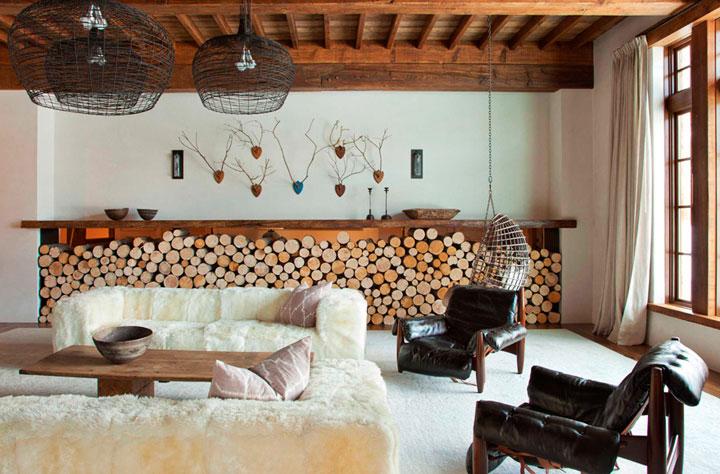 salón estilo ecléctico rústico