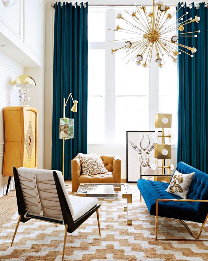 salones eclécticos con toques de color