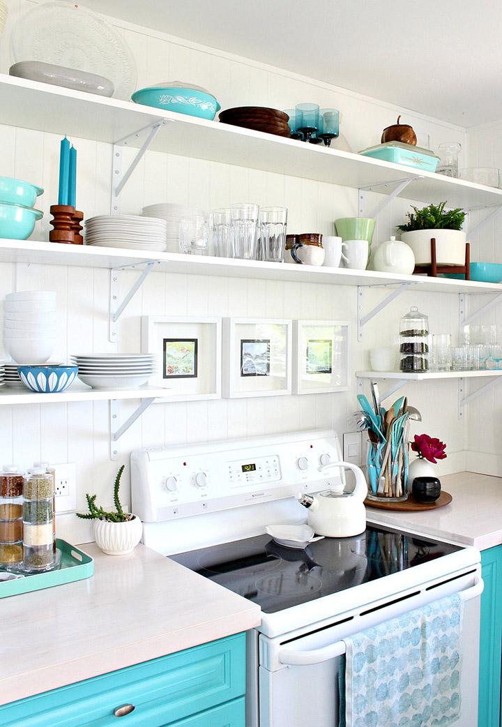 Cocinas eclécticas de colores pastel