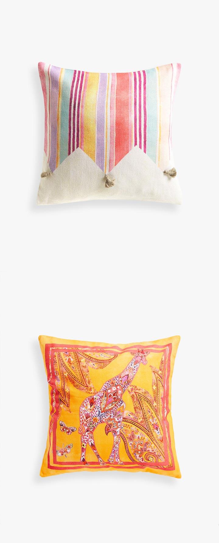 Cojines de salón Zara Home coloridos