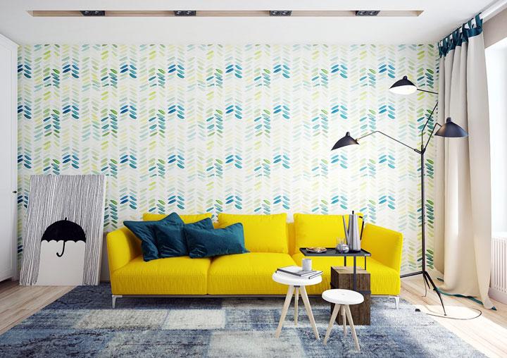 Decoración verde y amarillo en el salón