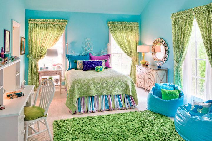 Decoración en verde y azul para dormitorios