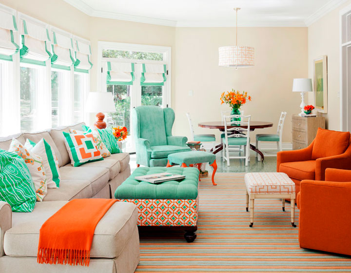 Combinar color verde y naranja en decoración