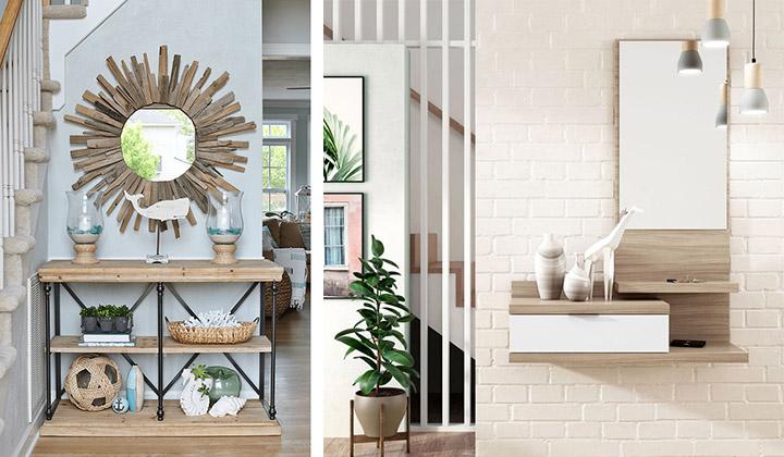 Muebles para recibidor con espejo
