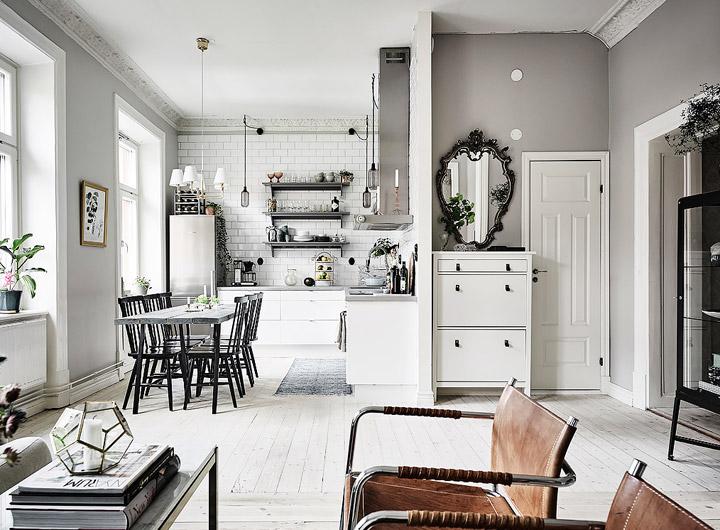 Decoración de la cocina en blanco y negro