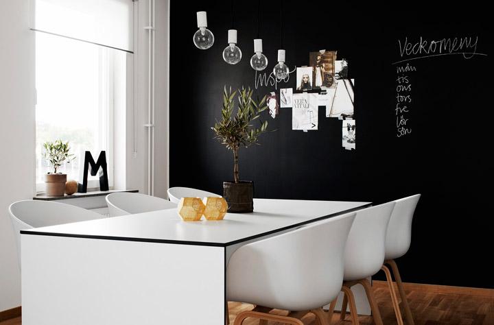 Decoración de paredes en blanco y negro con pintura de pizarra