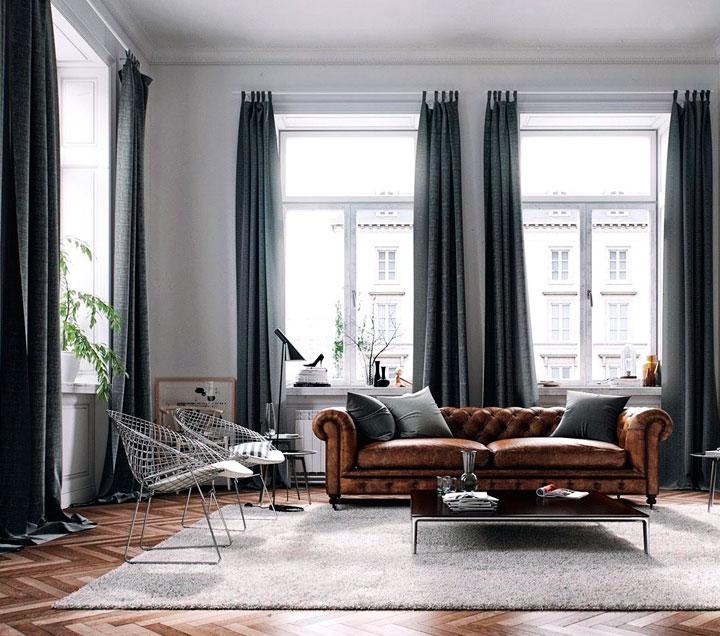 Decoración marrón y gris estilo moderno