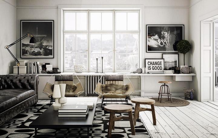 Decorar el salón en blanco y negro