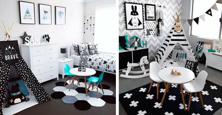 Decoración de dormitorios infantiles en blanco y negro