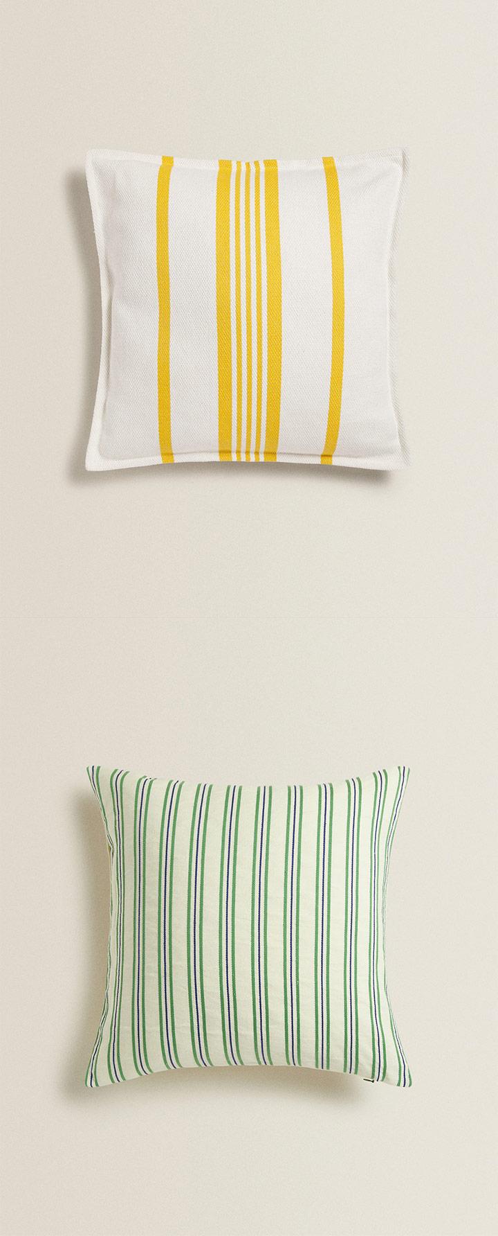 Catálogo cojines Zara Home a rayas