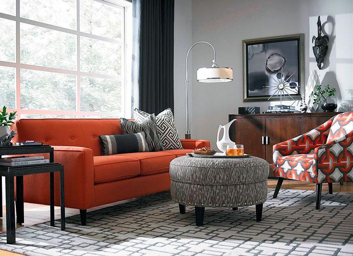 Colores que combinan con el naranja en decoración de interiores