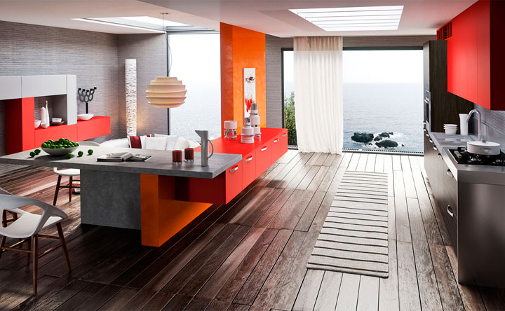 Decoración combinando el color naranja y el rojo