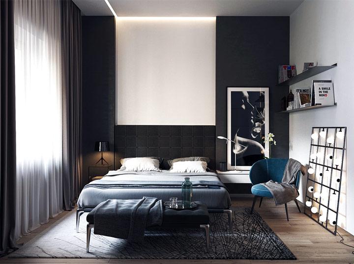 Dormitorio blanco y negro moderno decoración