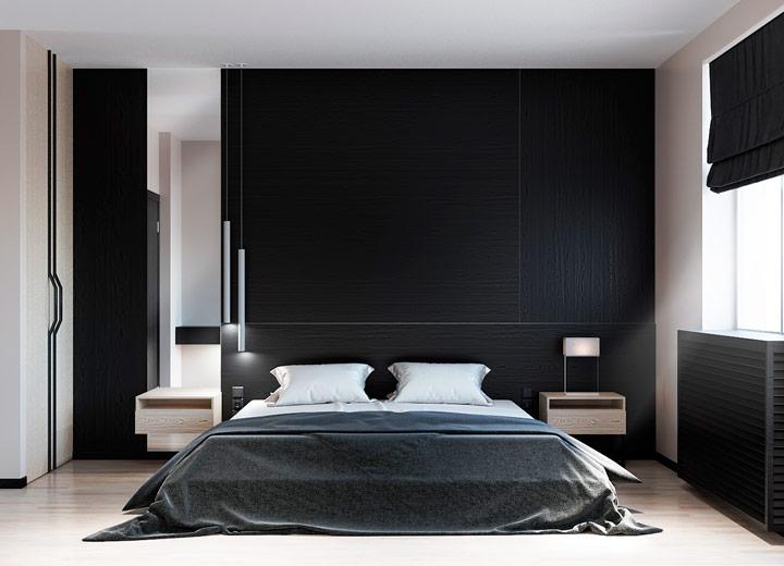 Dormitorio minimalista en blanco y negro