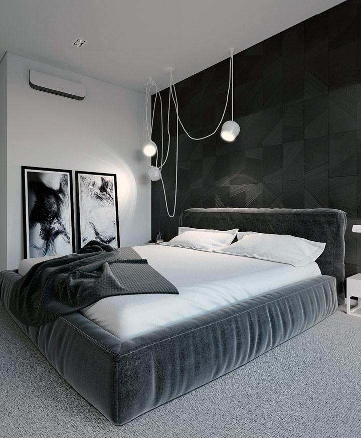 Dormitorio moderno decorado en blanco y negro