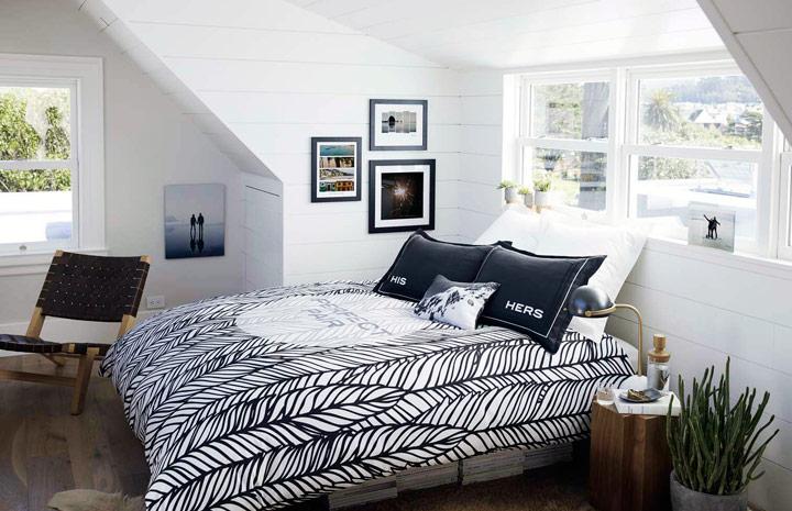 Decoración de dormitorios en blanco y negro