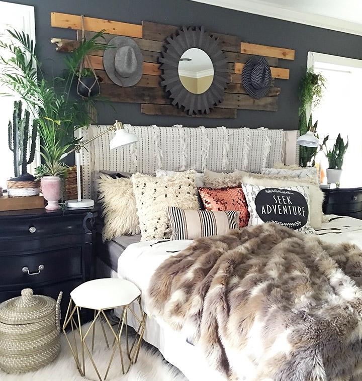 Mezcla de texturas en dormitorios eclécticos