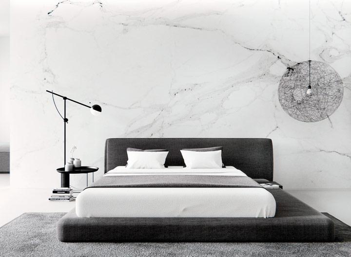 Habitación decorada en blanco y negro minimalista
