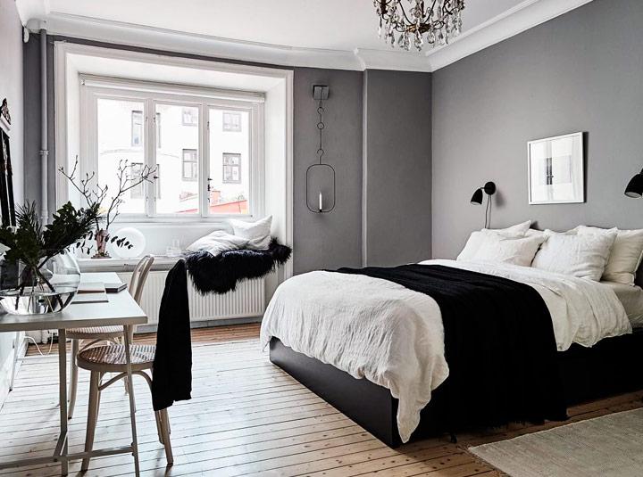 Habitación en blanco y negro moderna