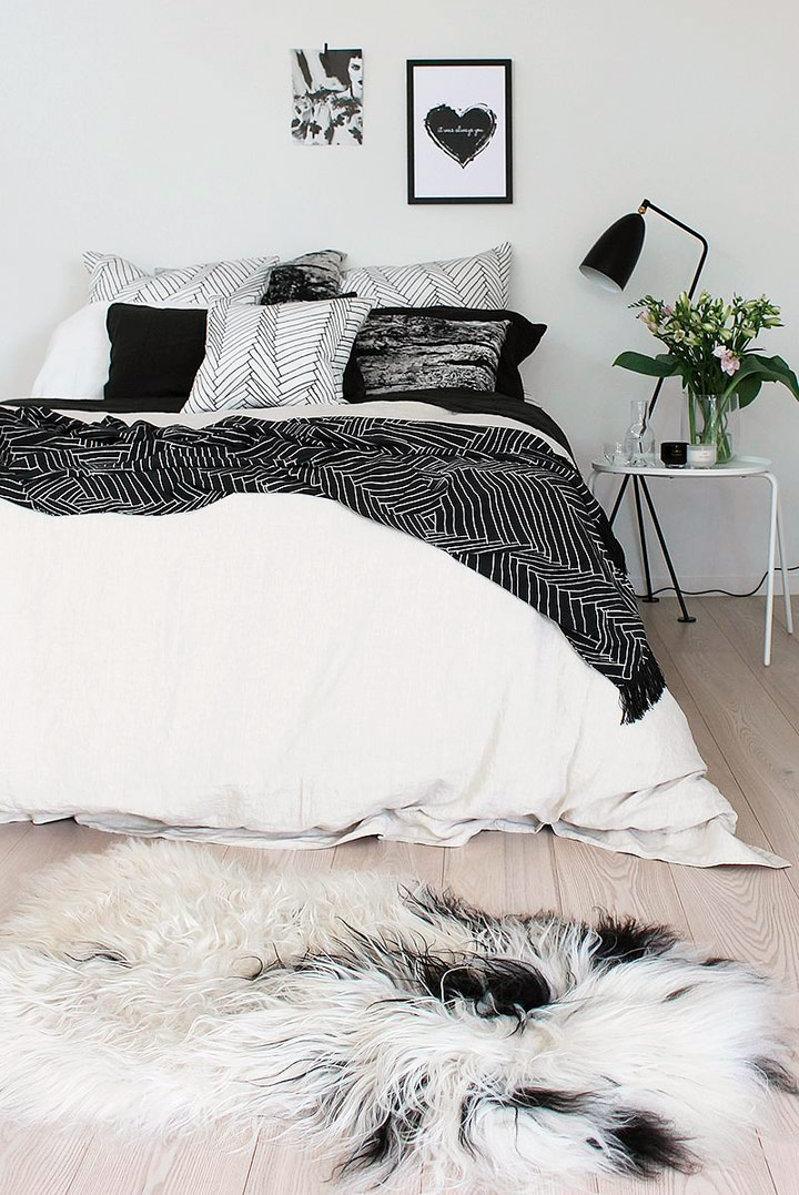 Cómo decorar habitación para chicas en blanco y negro