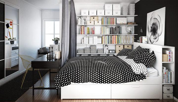 Diseño de habitación juvenil en blanco y negro