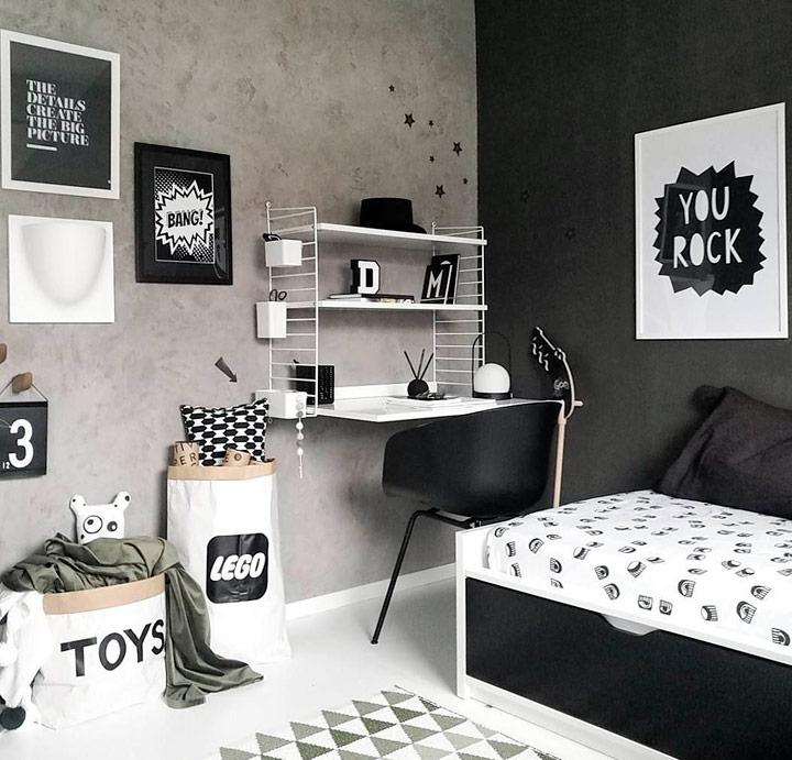Ideas de habitaciones en blanco y negro para niños