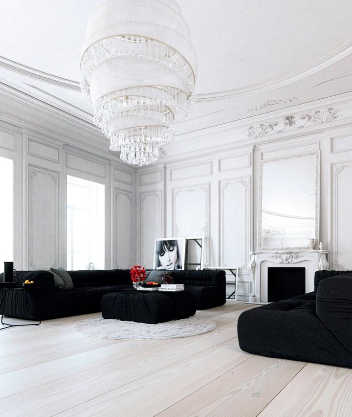 Salón Comedor en Blanco y Negro: Claves de Decoración 2019