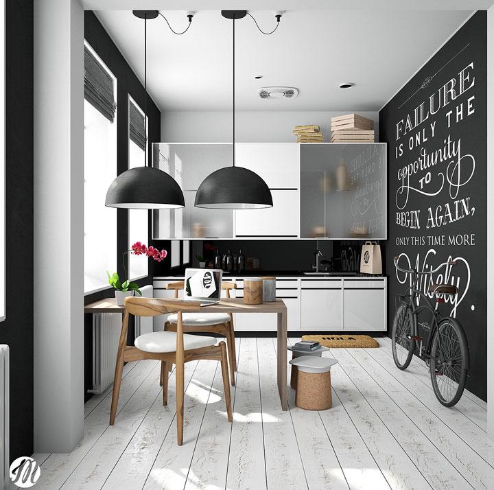 Cocina blanco y negro pequeña