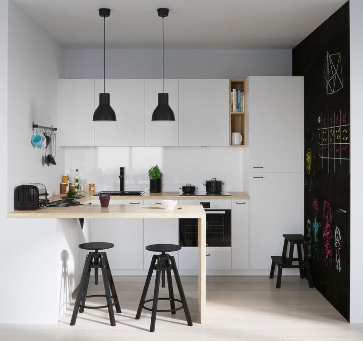 decoración de cocina moderna blanco negro y madera