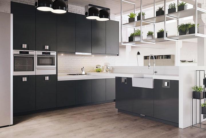 Cómo decorar cocinas blanco y negro y madera