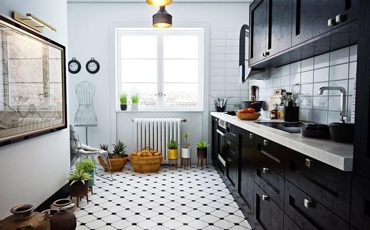 Cocinas blanco y negro vintage