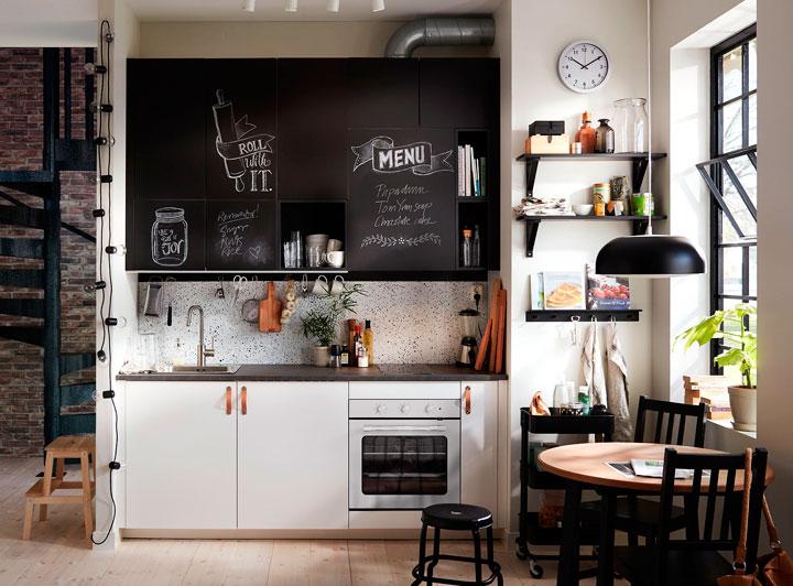 Decoración de cocinas bonitas en color blanco y negro