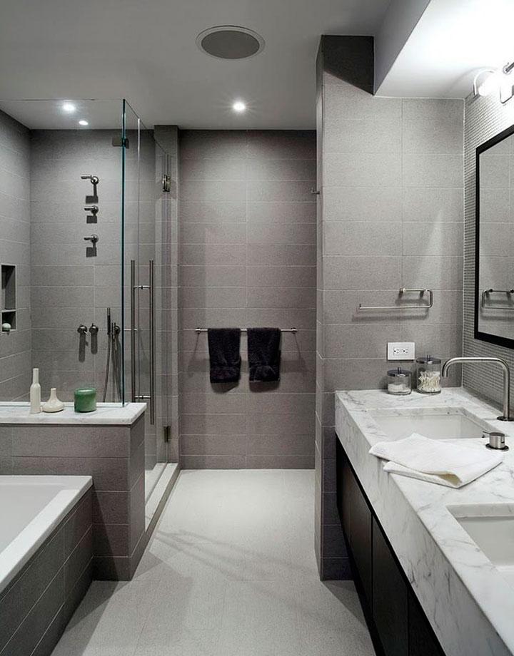 Decoración de baños en blanco y gris