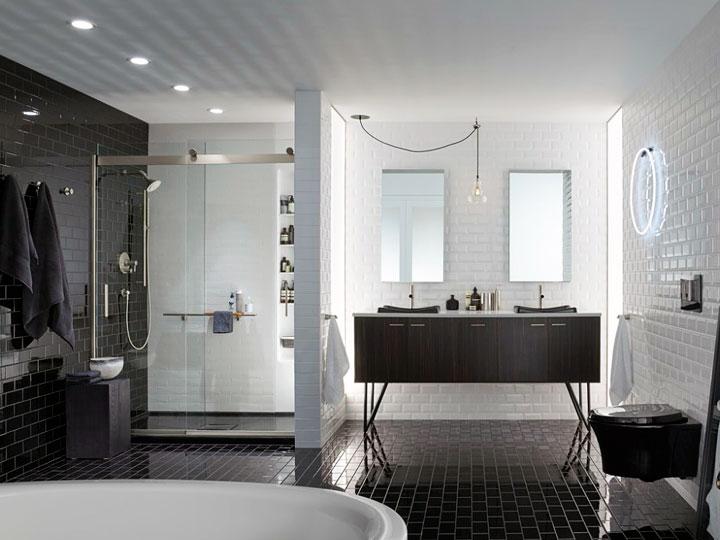 Baños blanco y negro decoración