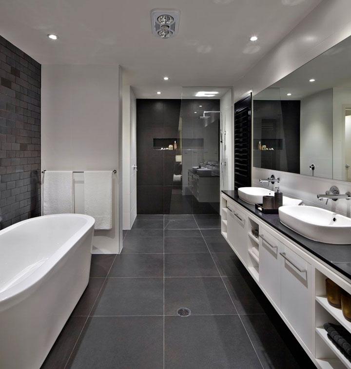 Cómo decorar baños color blanco y negro con gris