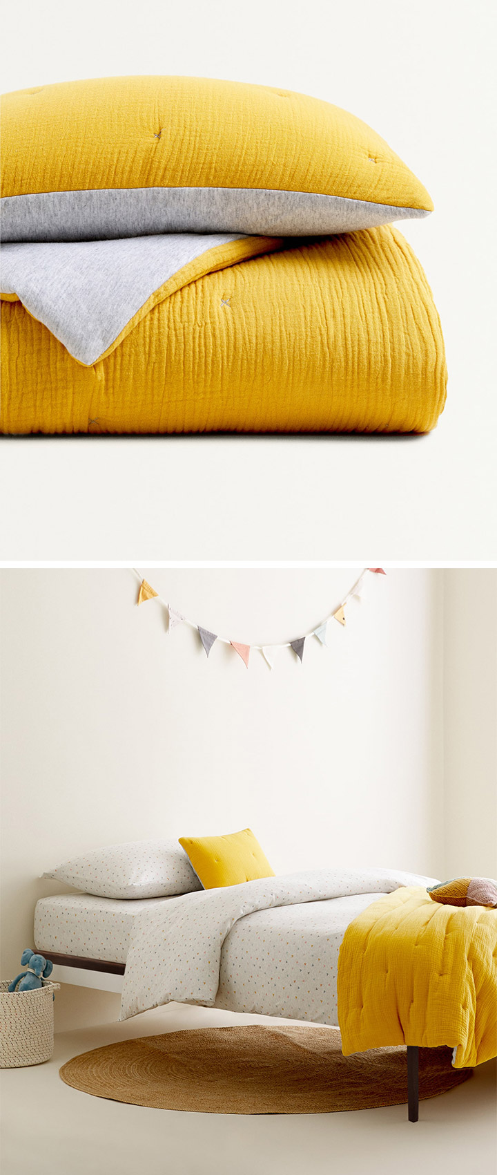 Colcha para niños Zara Home color amarillo mostaza