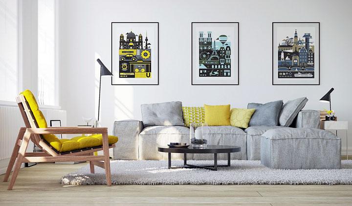 Cómo combinar el gris y el amarillo en el salón