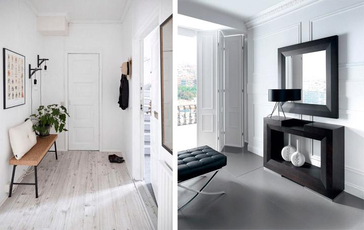 Guía de cómo decorar recibidores en blanco y negro
