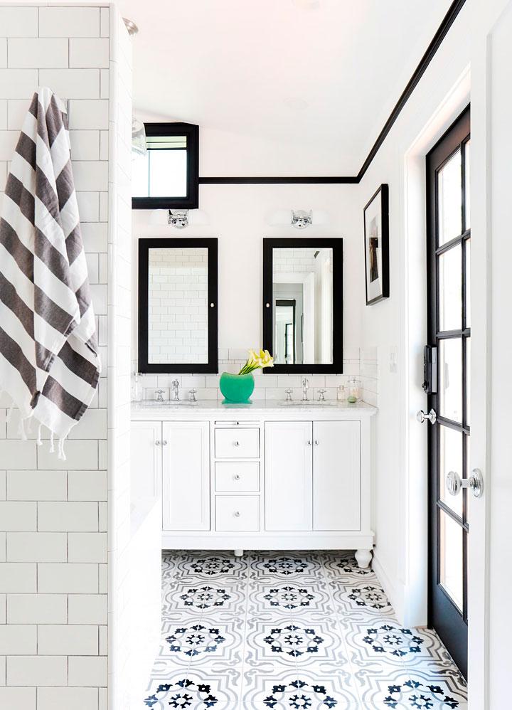 Cómo decorar baños blanco y negro