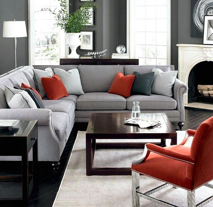 Ideas para decorar el salón gris y rojo
