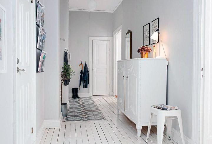 Recibidores blanco y negro estilo nórdico vintage