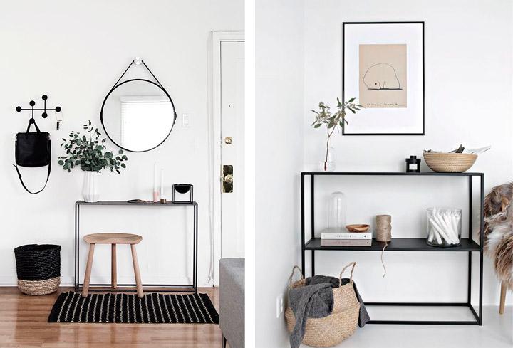 Recibidores blanco y negro pequeños cómo decorarlos