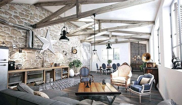 Decorar paredes con piedra y madera